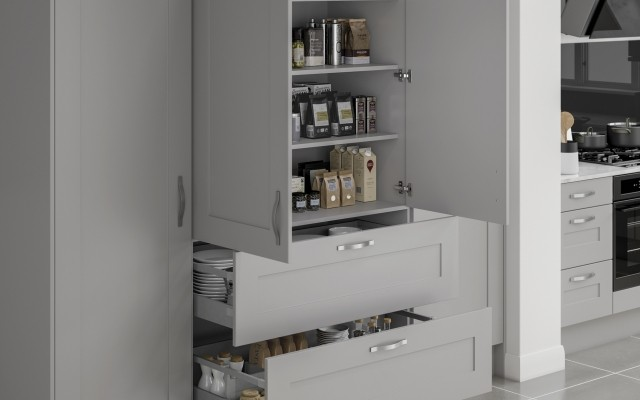 Solent Grey Mist Larder 2 Door 2 External Drawer
